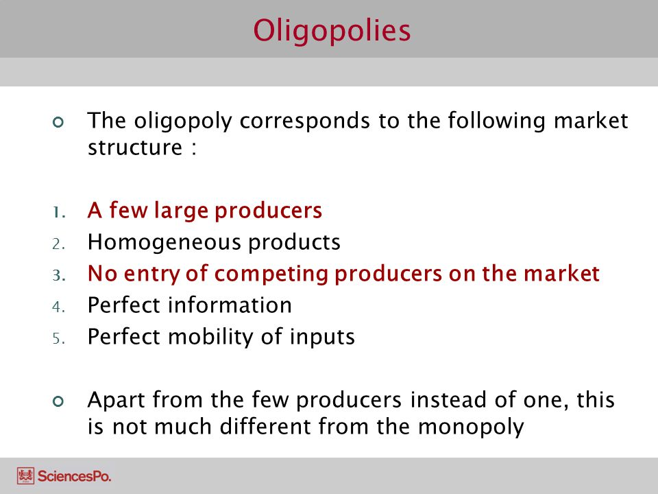 an introduction to the market structure of oligopoly There are a variety of differing market structures which are separated by the   and one electricity supplier etc with the introduction of monopoly oligopoly.
