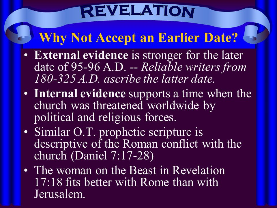 dating of revelation In this message, dr sproul explains the importance of properly dating the book of revelation as we seek to understand the destruction of the temple in 70 ad.