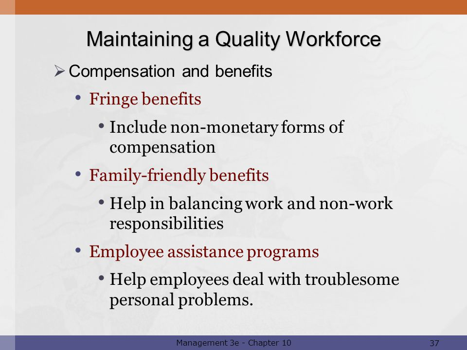 non monetary compensation employers helping to create Workers' compensation is a form of insurance providing wage replacement and medical benefits to employees injured in the course of employment in exchange for mandatory relinquishment of the employee's right to sue their employer for the tort of negligence the trade-off between assured, limited coverage and lack of recourse outside the worker compensation system is known as the compensation.