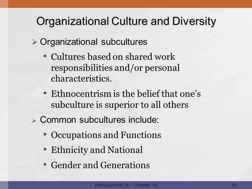 organizational culture diversity Understanding the impact of cultural diversity on organizations  chapter 3 analyzes a model that shows how diversity can impact an organization  culture and .