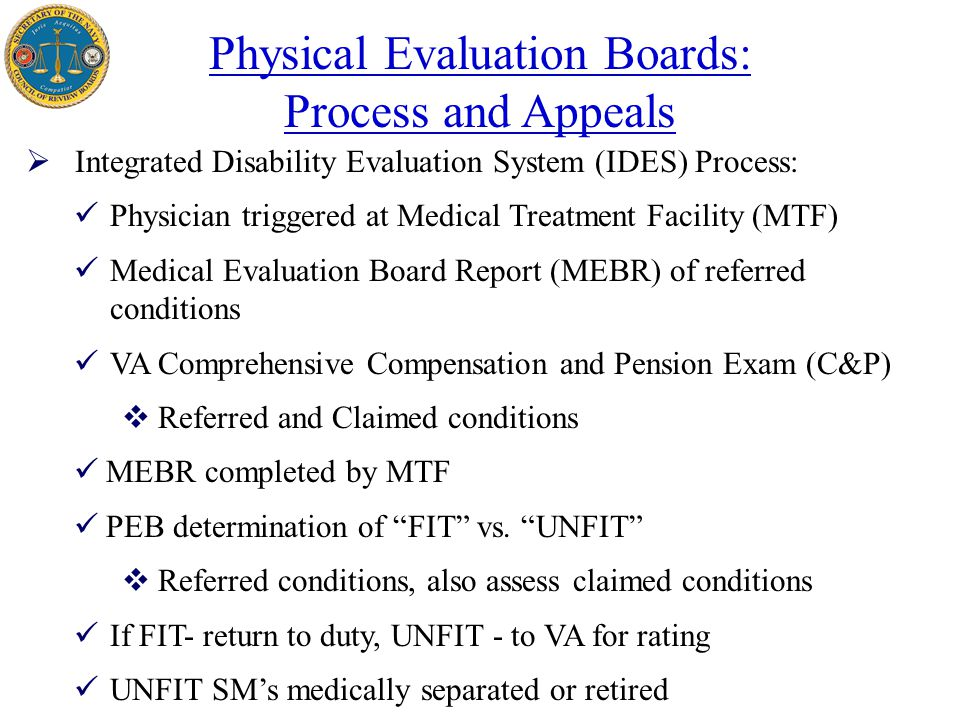 Secretary of the Navy Physical Evaluation Board (PEB) - ppt video ...
