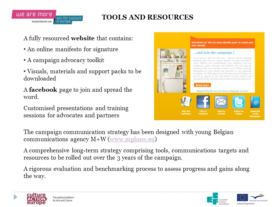TOOLS AND RESOURCES A fully resourced website that contains: