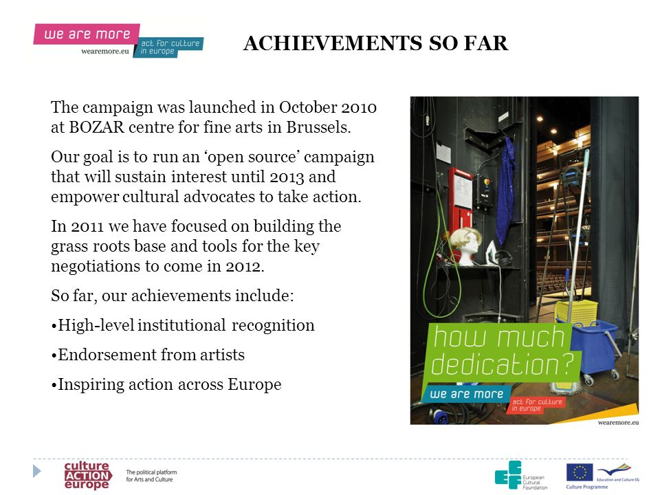 ACHIEVEMENTS SO FAR The campaign was launched in October 2010 at BOZAR centre for fine arts in Brussels.