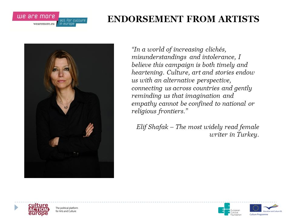 ENDORSEMENT FROM ARTISTS