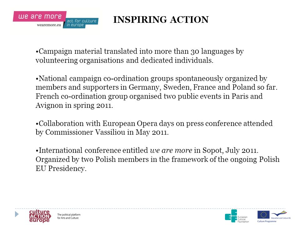 INSPIRING ACTION Campaign material translated into more than 30 languages by volunteering organisations and dedicated individuals.