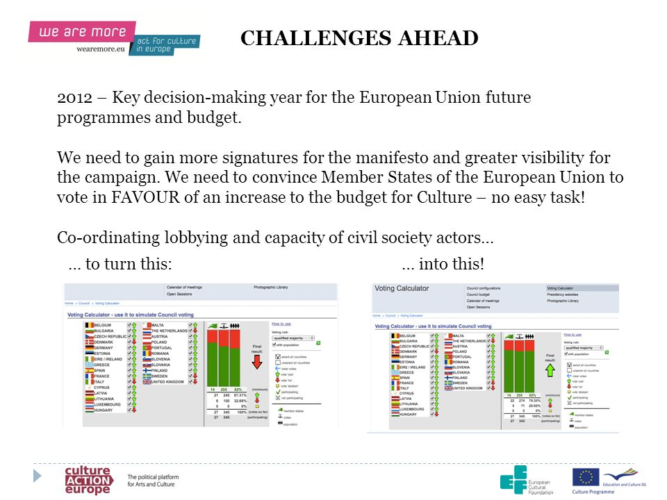 CHALLENGES AHEAD 2012 – Key decision-making year for the European Union future programmes and budget.