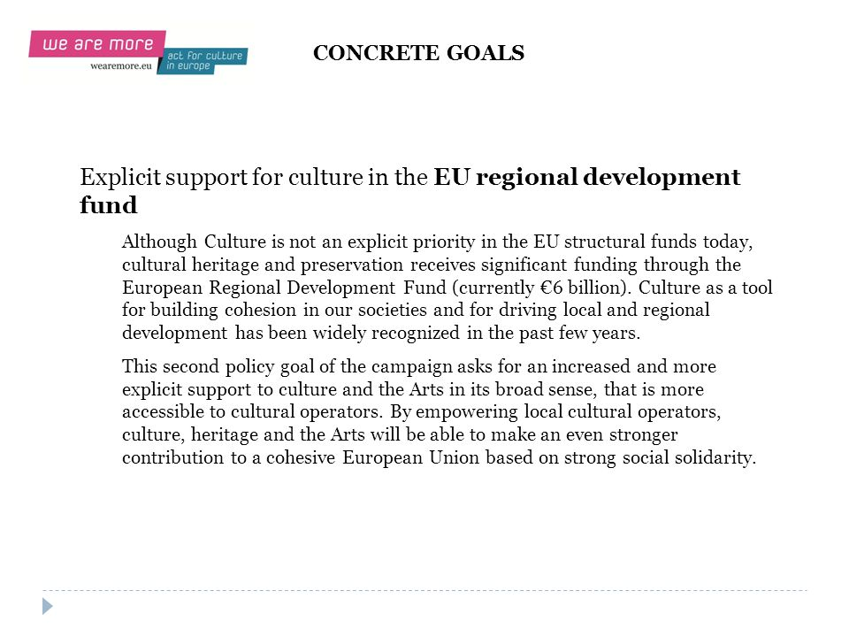 Explicit support for culture in the EU regional development fund