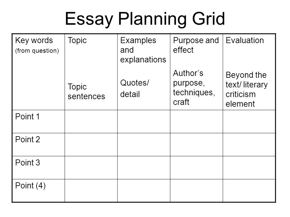 planning for essays