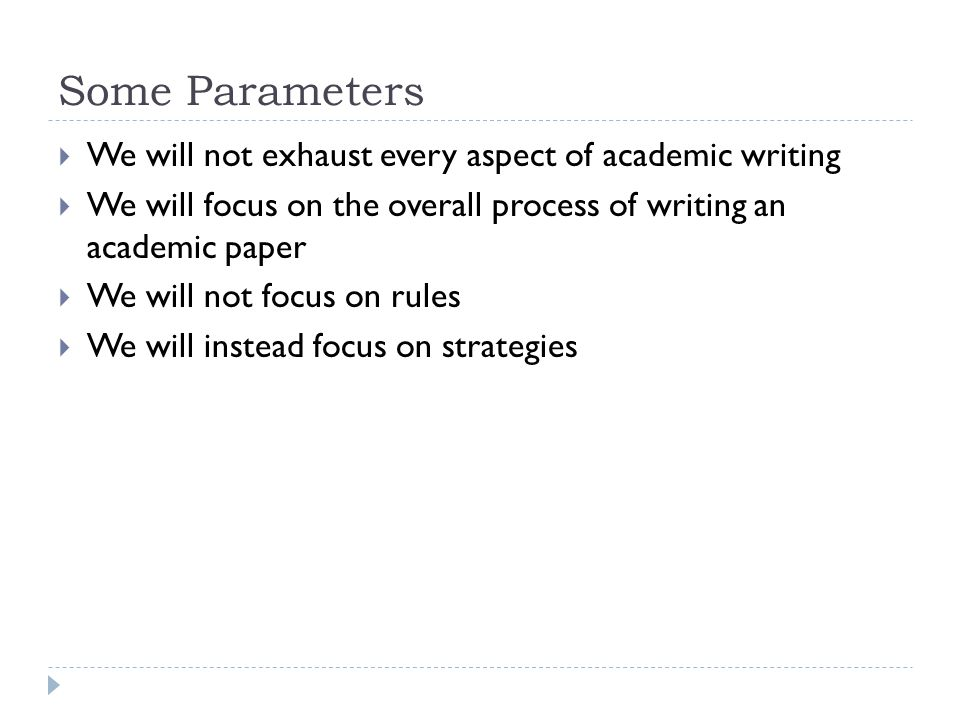 the process of writing an academic Academic writing is the process of breaking down ideas and using deductive reasoning, formal voice and third person point-of-view it is about what you think and what evidence has contributed to that thinking.