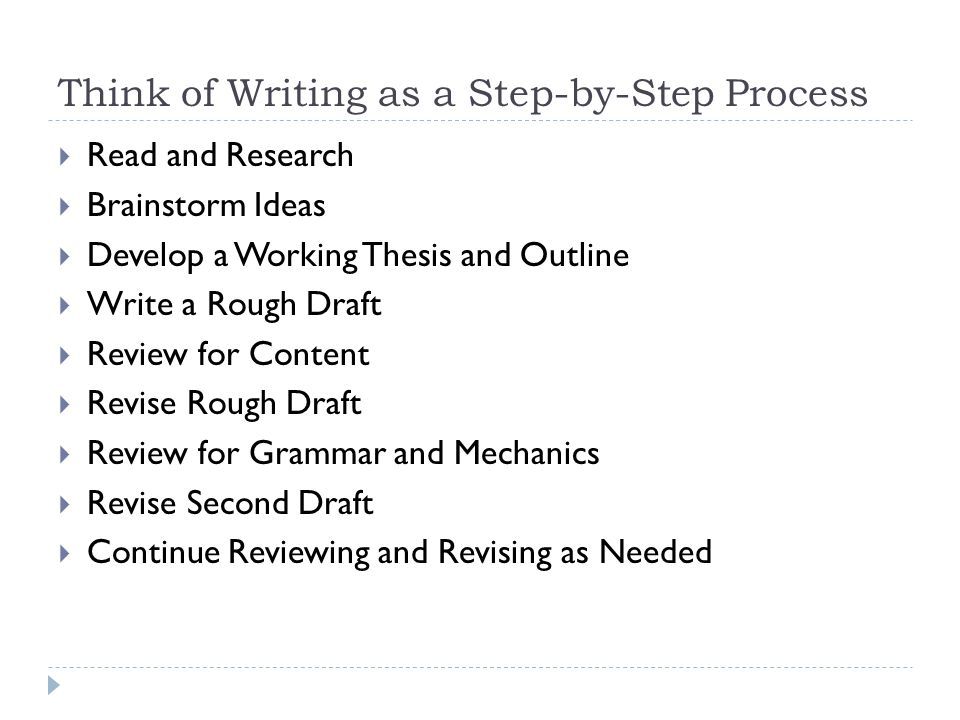 writing an academic essay by daniel tarker ppt think of writing as a step by step process