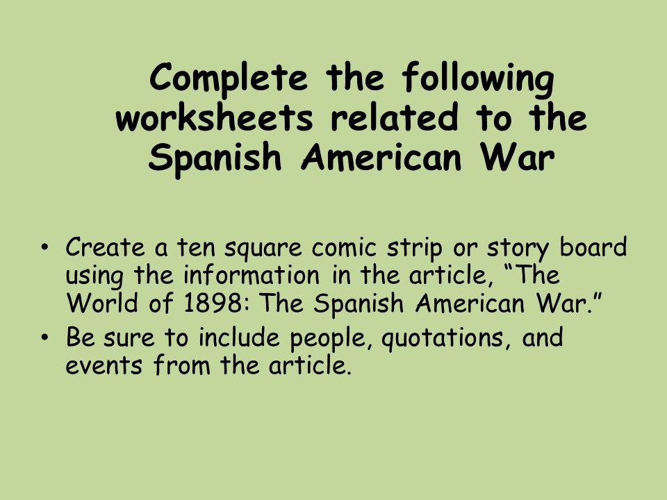 20th Century Conflicts ppt download – Spanish American War Worksheet