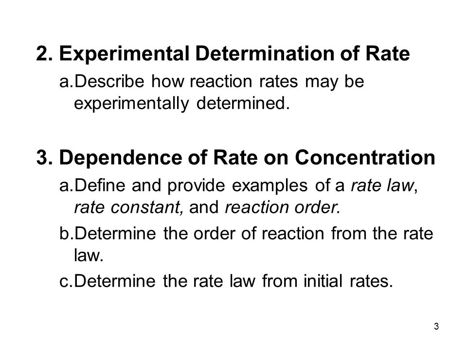 an experiment to determine the reaction for a specific rate law
