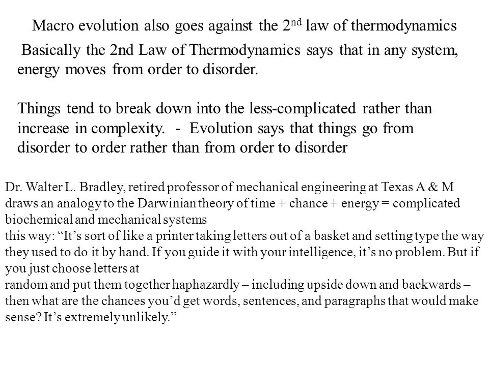 Thermodynamics, Evolution and Creationism