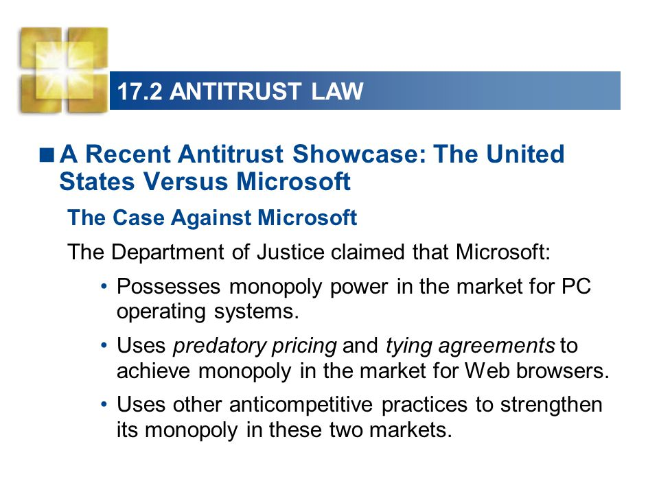 us justice departments case against microsoft The us department of justice has charged microsoft with violating antitrust department of justice antitrust suit against microsoft if you have a solid case.