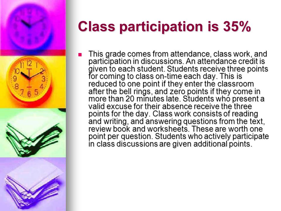 Class participation is 35%