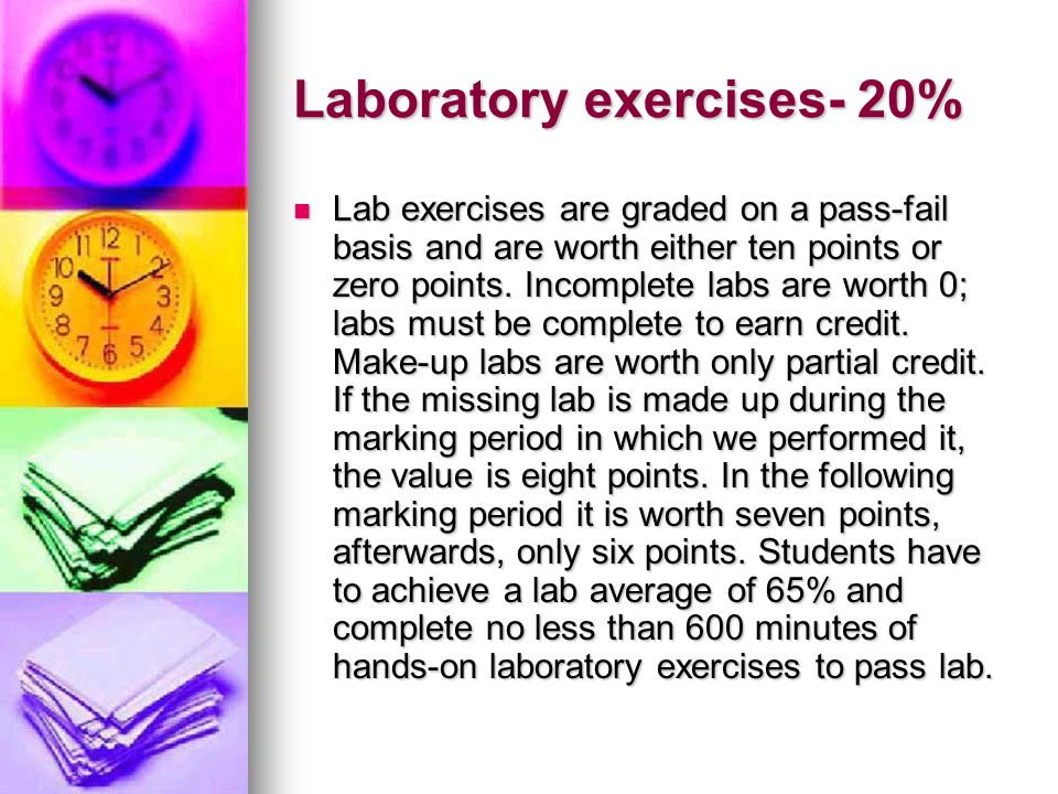 Laboratory exercises- 20%
