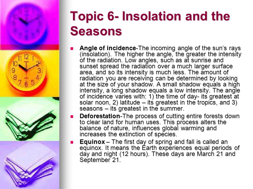 Topic 6- Insolation and the Seasons