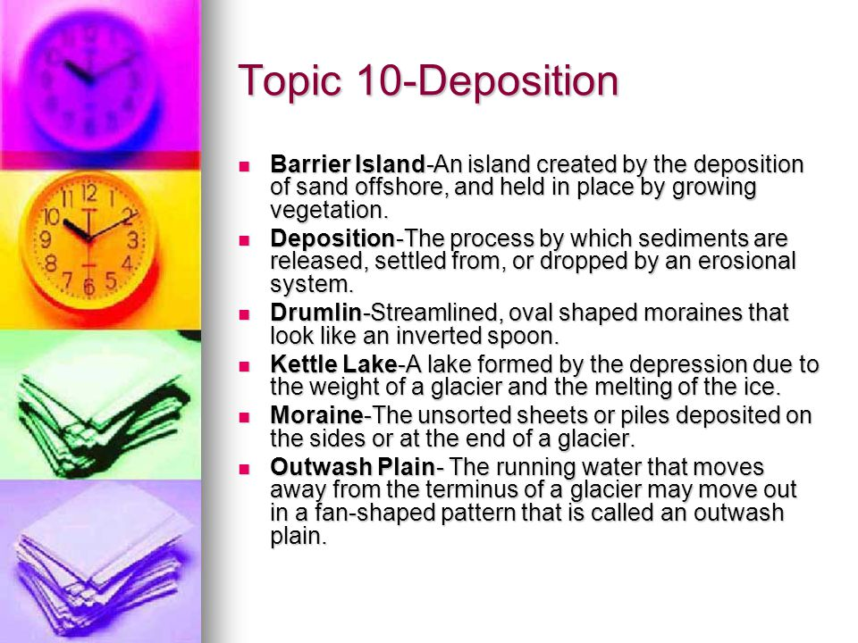 Topic 10-Deposition Barrier Island-An island created by the deposition of sand offshore, and held in place by growing vegetation.