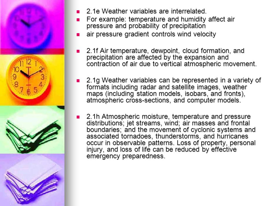 2.1e Weather variables are interrelated.