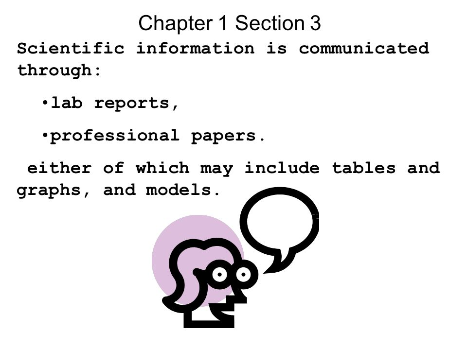 Chapter 1 Section 3 Scientific information is communicated through: