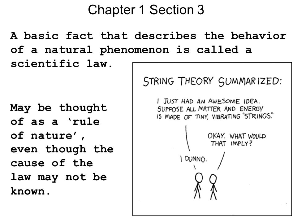 Chapter 1 Section 3 A basic fact that describes the behavior of a natural phenomenon is called a scientific law.