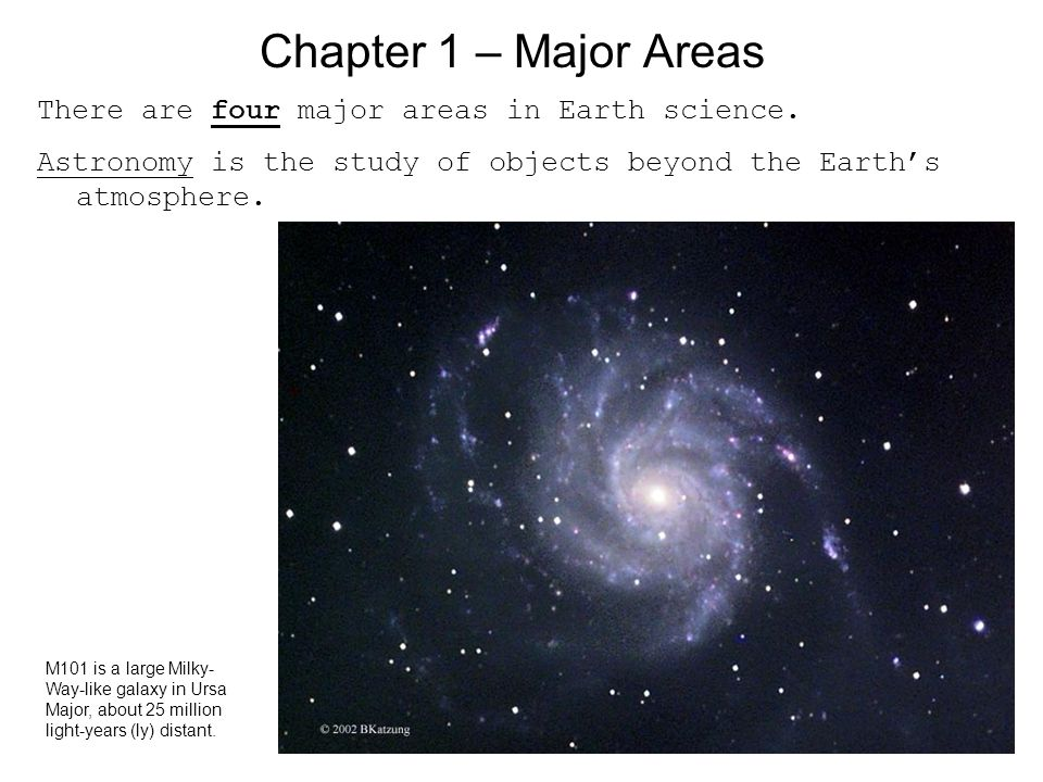 Chapter 1 – Major Areas There are four major areas in Earth science.