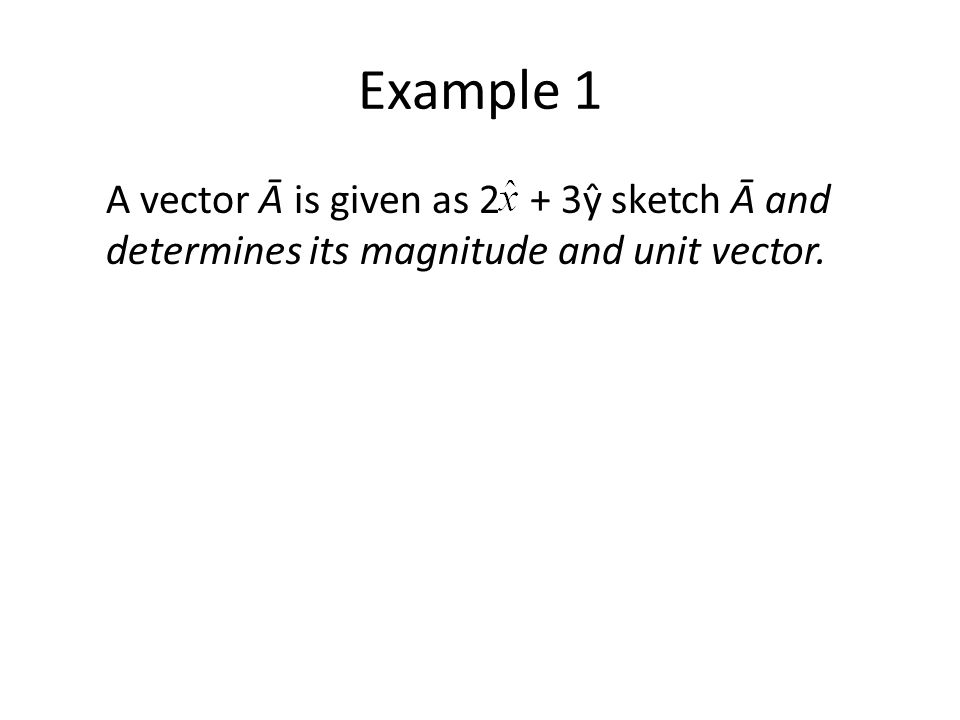 Example 1 A vector Ᾱ is given as 2 + 3ŷ sketch Ᾱ and determines its magnitude and unit vector.