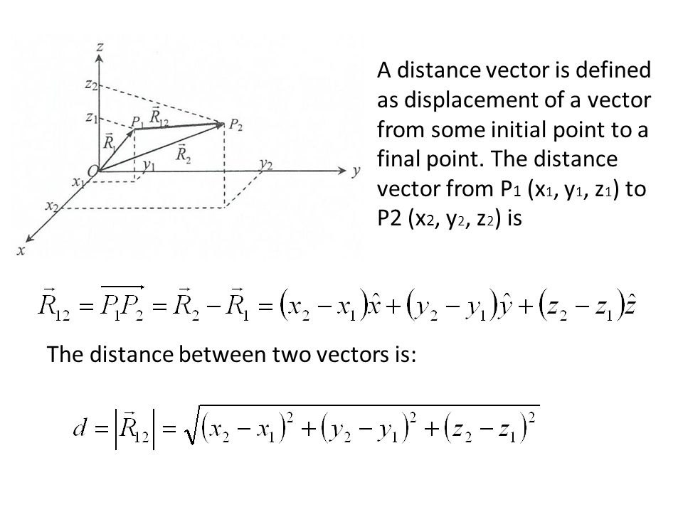 A distance vector is defined as displacement of a vector from some initial point to a final point. The distance vector from P1 (x1, y1, z1) to P2 (x2, y2, z2) is