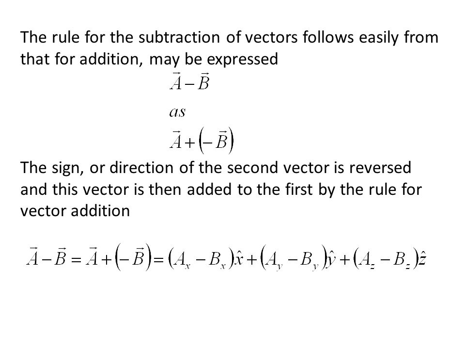 The rule for the subtraction of vectors follows easily from that for addition, may be expressed