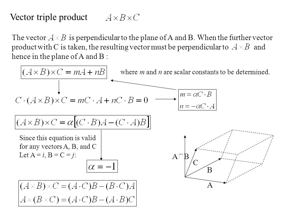 Vector triple product The vector is perpendicular to the plane of A and B. When the further vector.