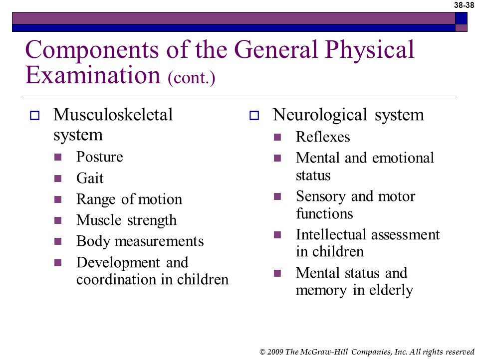 physical or mental examination History and physical examination, the introduction, preparation, history, examination, and more about history and physical examination  mental state examination management in the 1980s, handing over a prescription indicated the end of the consultation it is now recognised that educating the patient in their condition and involving them.