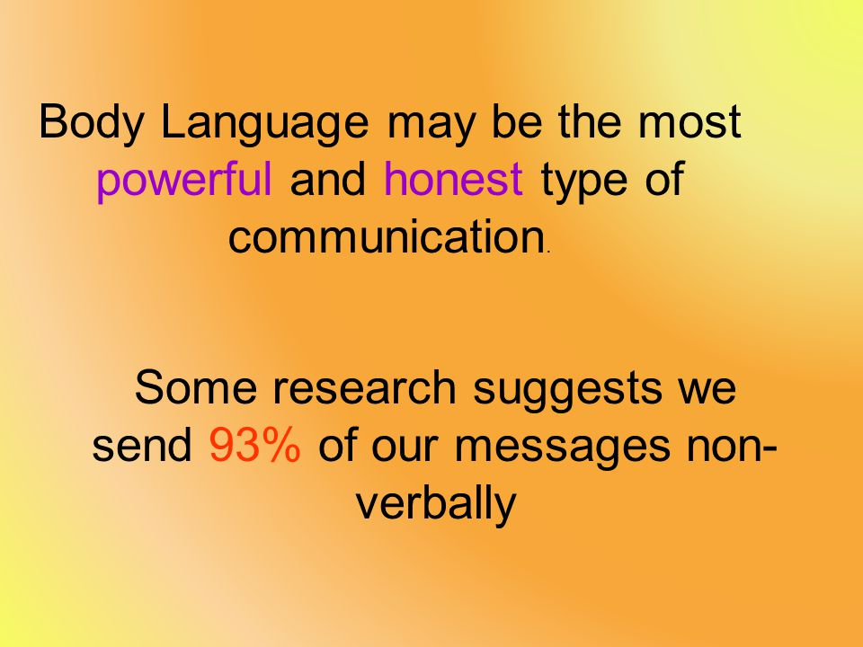 Some research suggests we send 93% of our messages non-verbally