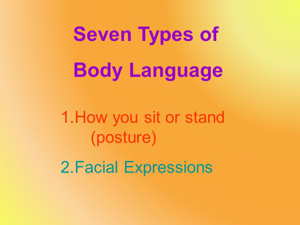 Seven Types of Body Language How you sit or stand (posture)
