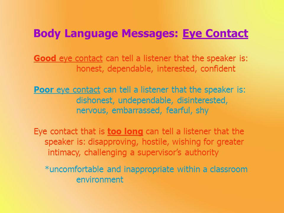 Body Language Messages: Eye Contact