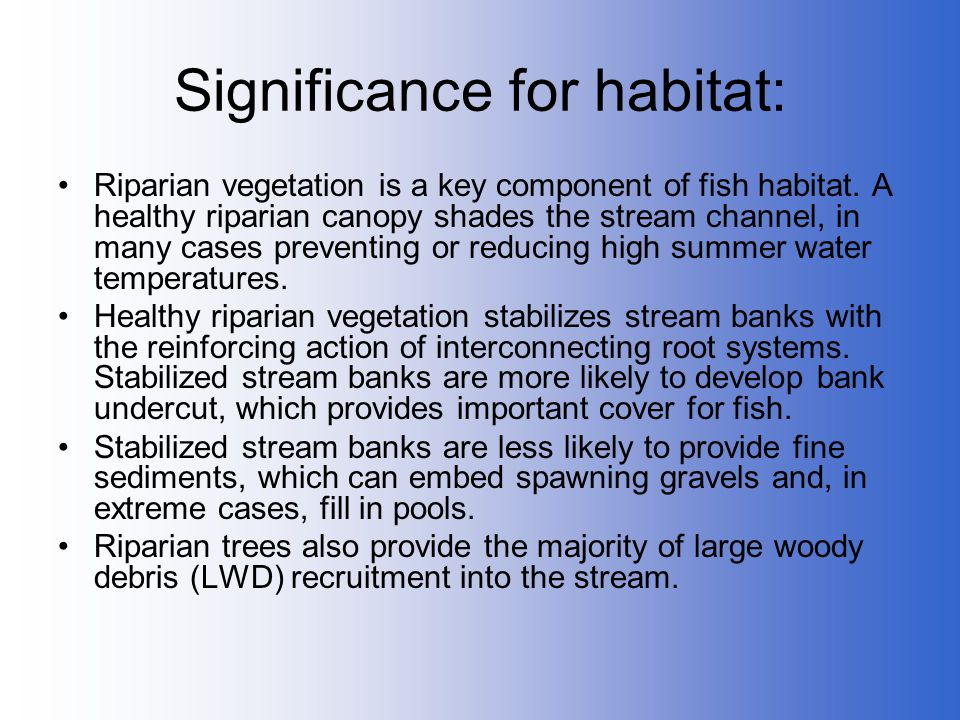 Significance for habitat: