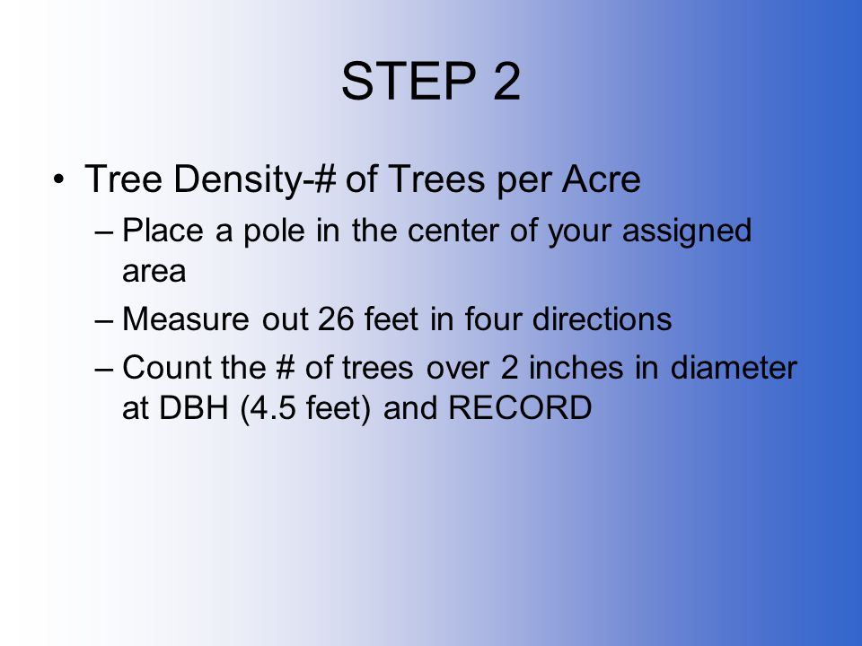 STEP 2 Tree Density-# of Trees per Acre