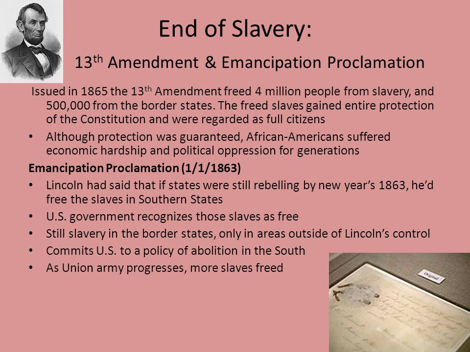 end of slavery in the u s a Abolitionism in the united states was the movement before and during the american civil war to end slavery in the united states in the americas and western europe.