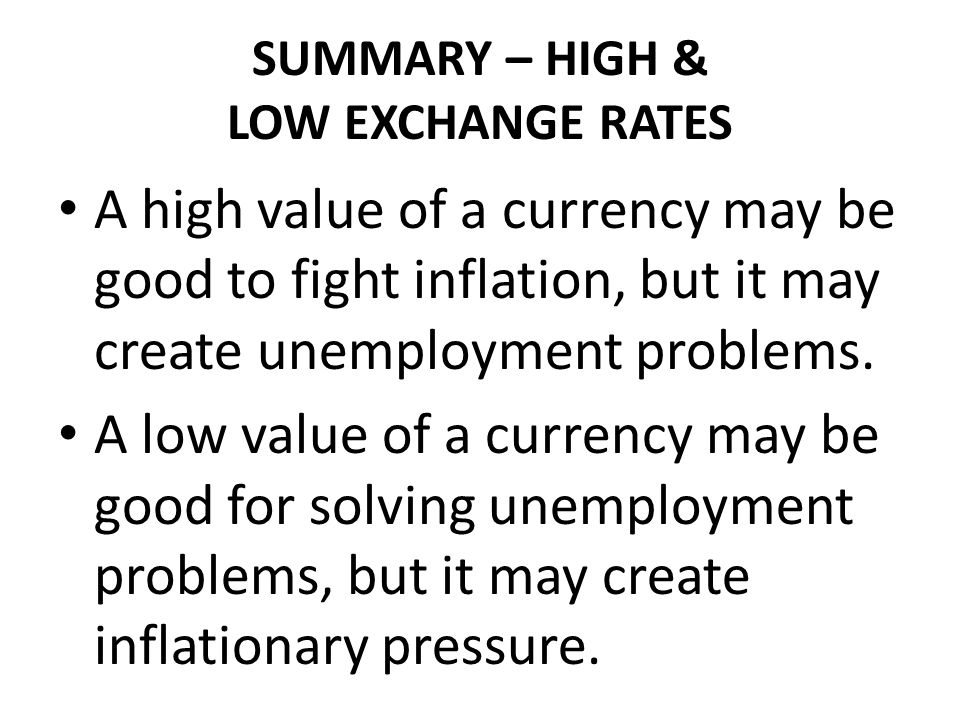 SUMMARY – HIGH & LOW EXCHANGE RATES
