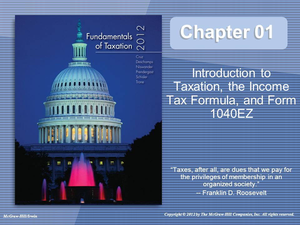 introduction to taxation With this in mind, the latest ciot and ifs debate was titled taxing families: 30  years after the introduction of independent taxation, have we.
