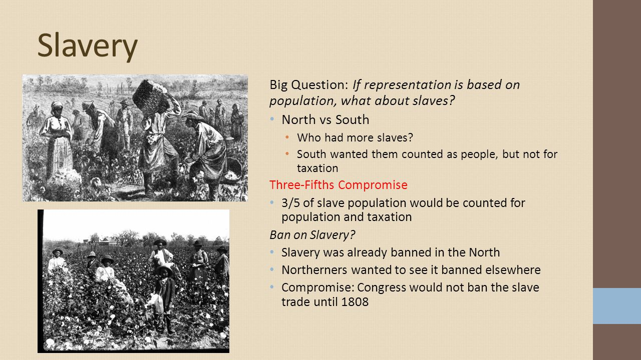 Slavery Big Question: If representation is based on population, what about slaves North vs South.