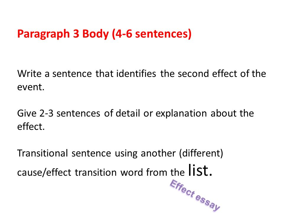 paragraph cause and effect essay