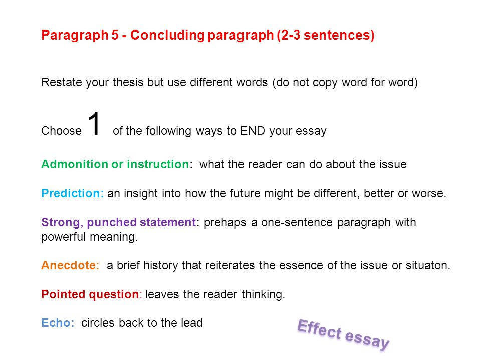 cause and effect essays ppt  23 paragraph