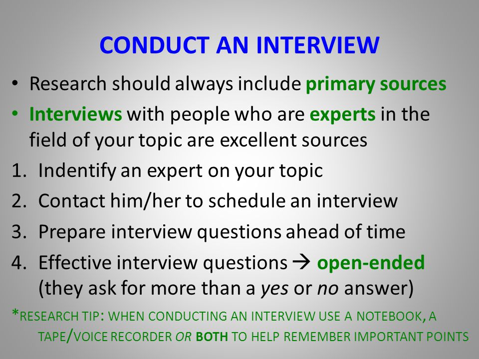 good interview questions to ask for a research paper Here's a good way to prepare for behavior-based interviews:  interview is to dig  up old research papers, to think hard about any difficulties encountered   following is a list of typical behavior-based questions, courtesy of lombardi and  the.