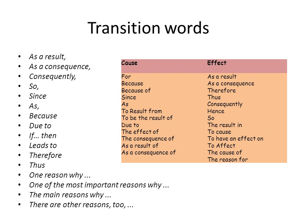 "good transition words cause effect essays Transition words and phrases when explaining transition words to elementary students, you need to tell them it is like ""going with the flow"" it makes writing interesting and moves it along it is important to use more than one transition word or your writing will sound boring, like: ""i saw the dog."