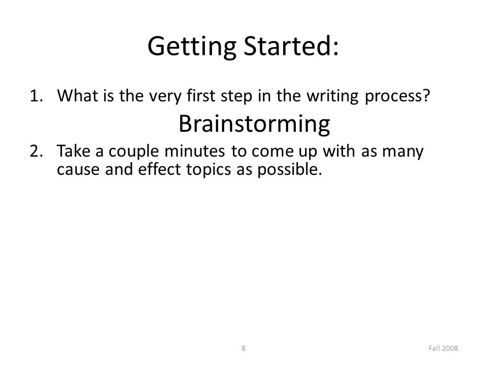 cause and effect essay ppt video online 8 getting started brainstorming