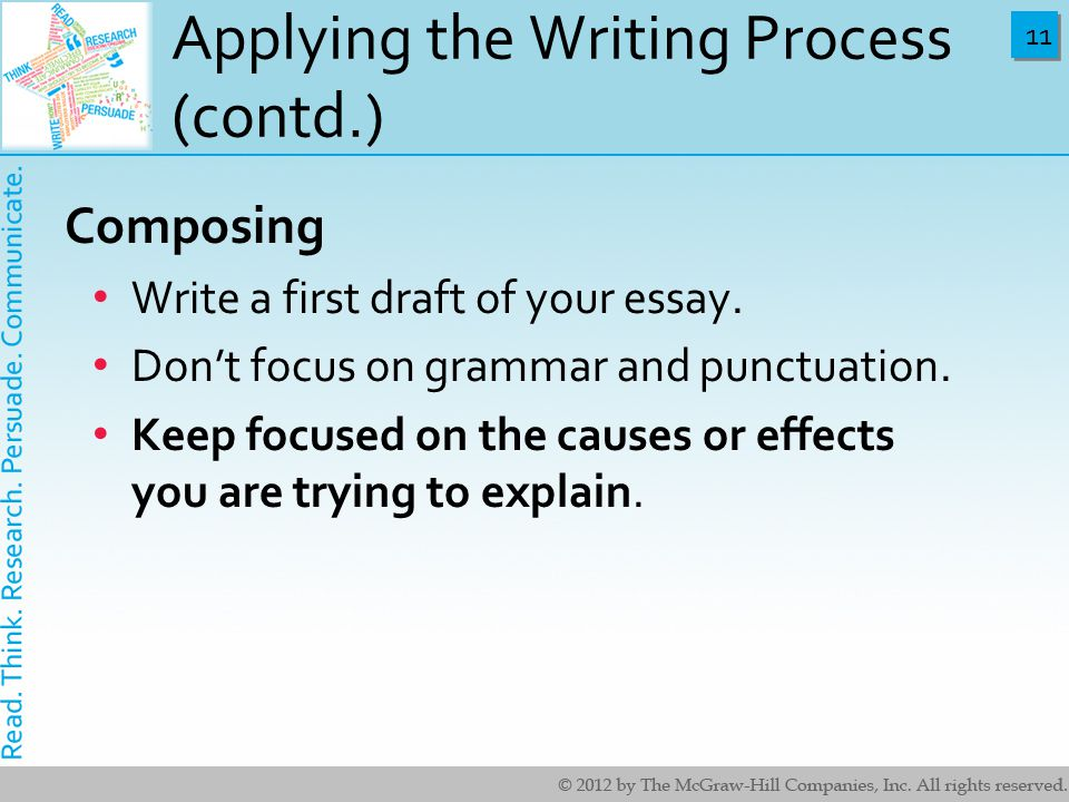 explain writing process composing essay The writing process is the series of overlapping steps that most writers follow in composing texts also called the composing process  in composition classrooms before the 1980s, writing was often treated as an orderly sequence of discrete activities.