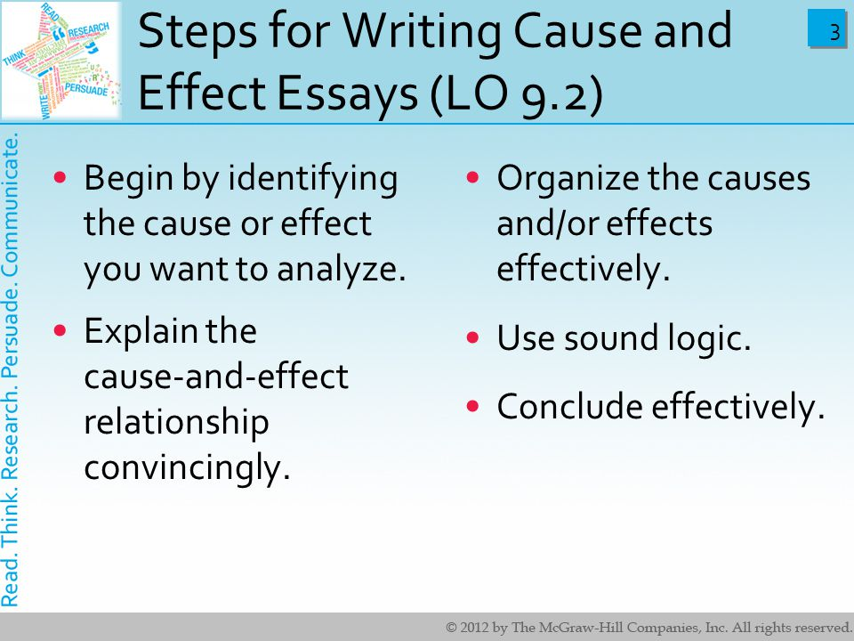 cause and effect essays What is a cause and effect essay students consider cause and effect essays to be easy however, the process of writing an impeccable.