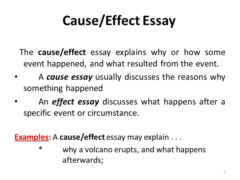 Define cause and effect essay years
