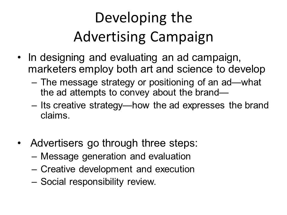 developing the advertising campaign 13 discuss the creative decisions in developing an advertising campaign from  marketing 5310 at texas a&m university.