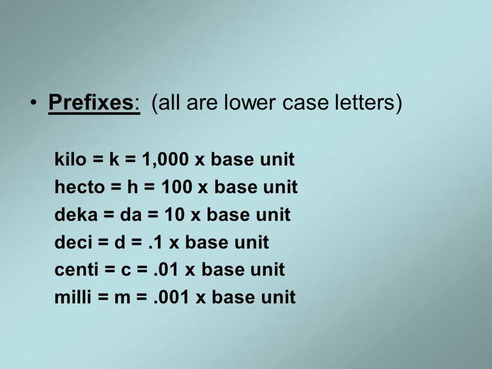 Prefixes: (all are lower case letters)